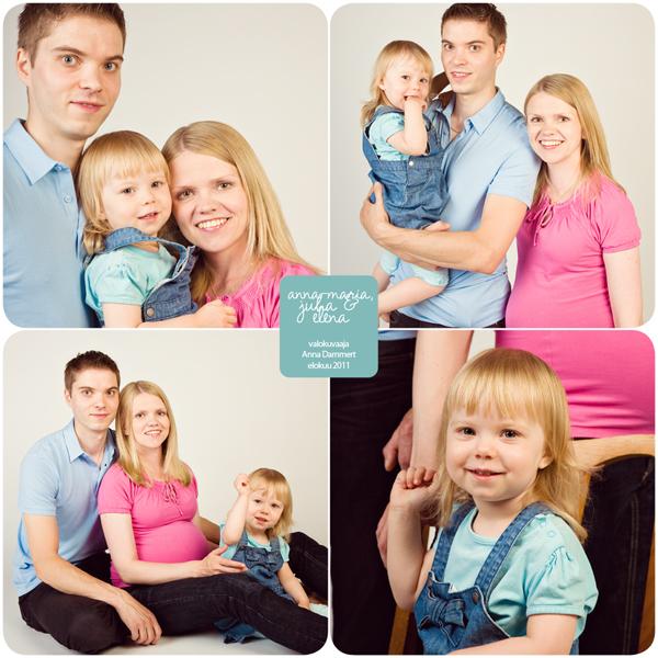 Perhe ja odottava äiti muotokuvassa