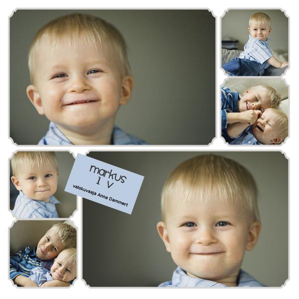 kuvakollaasi yksivuotiaan pojan kuvista