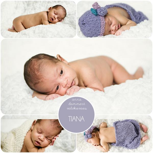 Kuvakollaasi vastasyntyneestä vauvasta